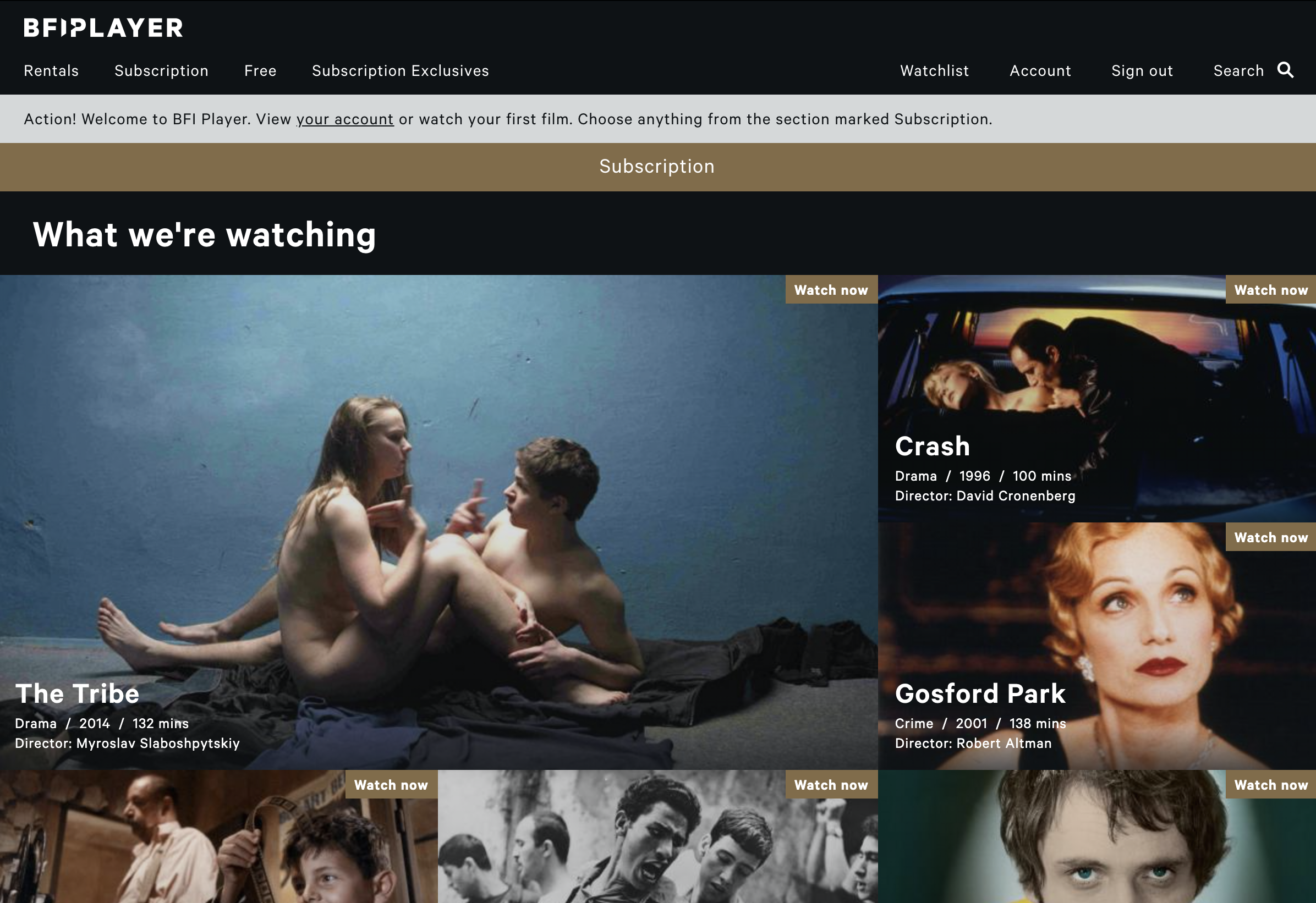 Screenshot showing Subscribers page