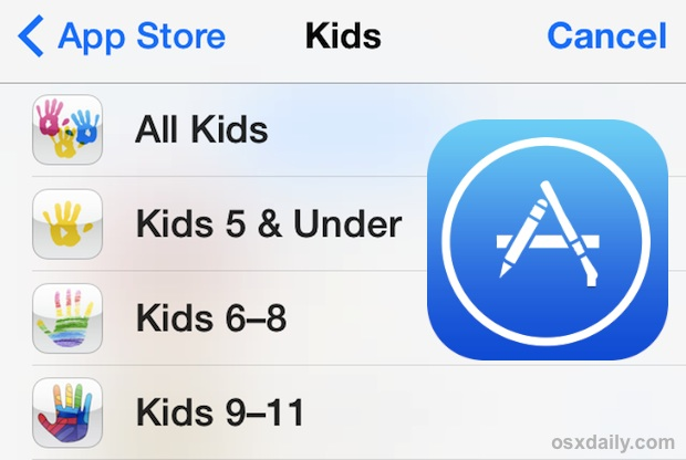 AppStore's Kids age groups